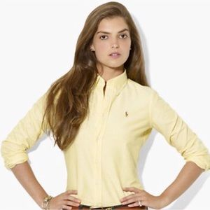 Ralph Lauren Oxford Shirt Yellow Striped Slim Fit